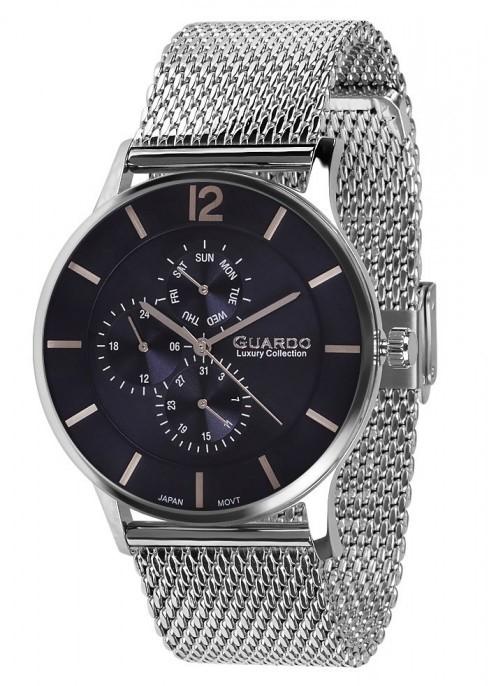 Guardo S1253-3 сталь, хром/синий, браслет
