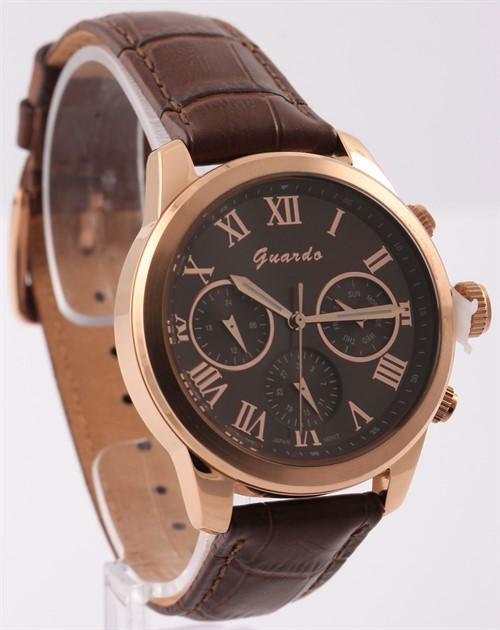 Guardo S8045-5 сталь, зол/корич, коричневый ремень