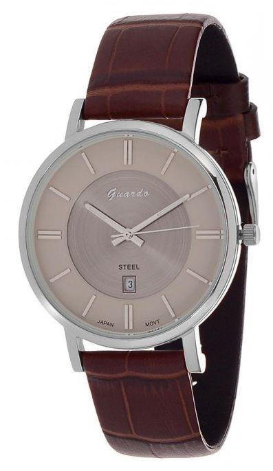 Guardo S0997-3 сталь, хром/корич, коричневый ремень