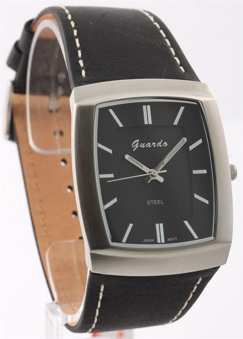 Guardo S9309-1 сталь, хром/черн, черный ремень - фото 8287