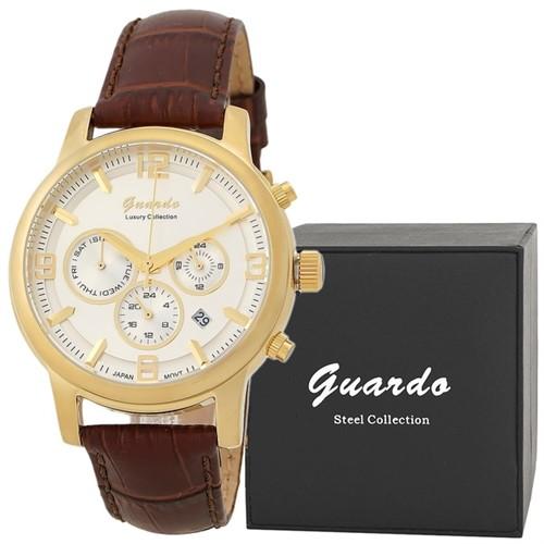 Guardo S1540-5 сталь, зол/сталь, коричневый ремень