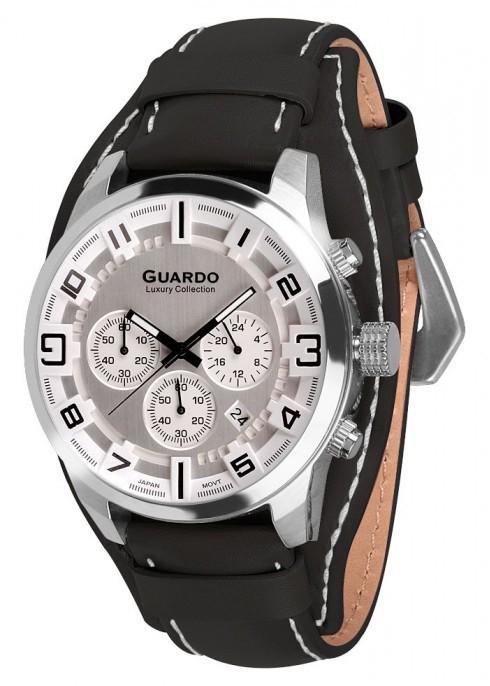 Guardo S1740-2 сталь, хром/белый, черный ремень