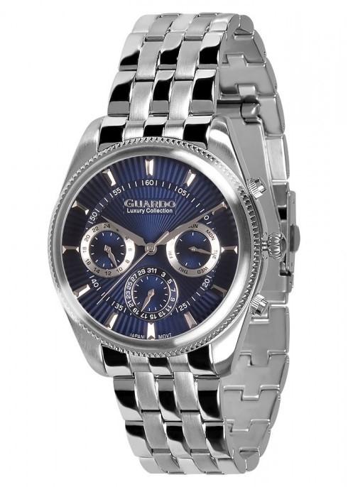 Guardo S1867-1 сталь, хром/синий, браслет