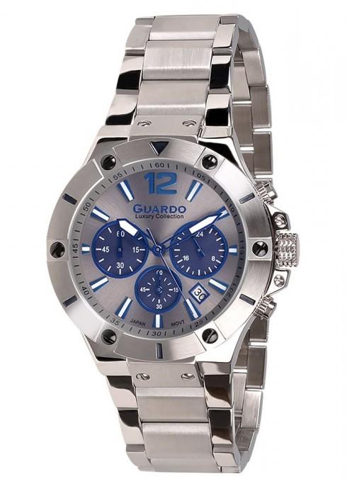 Guardo S1466-3 сталь, хром/серый/синий, браслет