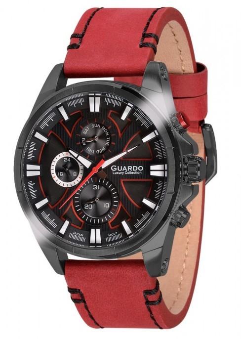 Guardo S1631-5 сталь, черн/черный, красный ремень